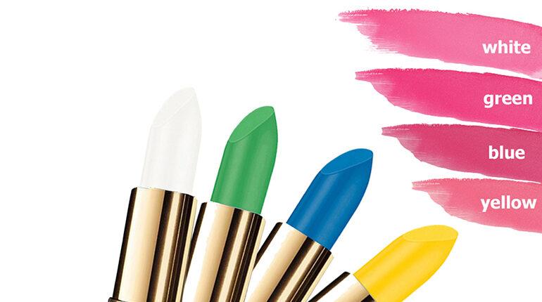 groene lippenstift wordt roze